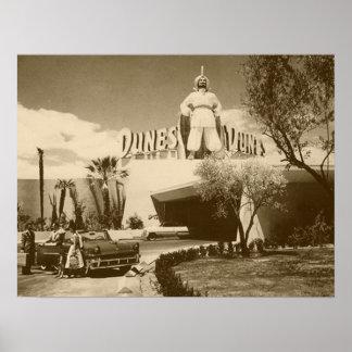 Poster del vintage del casino de las dunas de Las