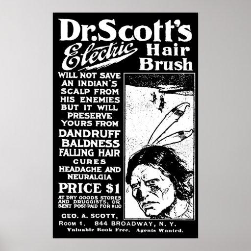 Poster del vintage del cepillo de pelo del Dr. Póster