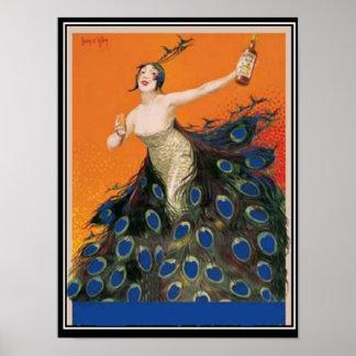 Poster del vintage del chica del pavo real del art