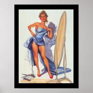 Poster del vintage del chica que practica surf Pin