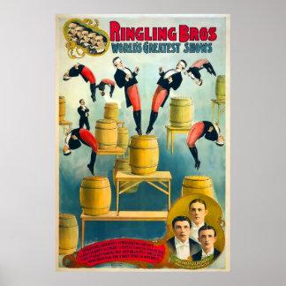 Poster del vintage del circo de los hermanos de póster