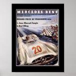 poster del vintage del coche de competición de los
