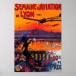 Poster del vintage del De Lyon de la aviación del