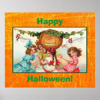 Poster del vintage del feliz Halloween
