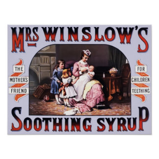 Poster del vintage del jarabe calmante de señora póster