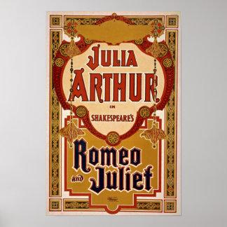 Poster del vintage del juego de Romeo y de Juliet