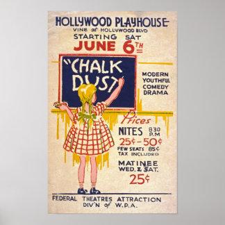 Poster del vintage del juego del teatro del polvo