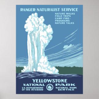 Poster del vintage del parque nacional de Yellowst