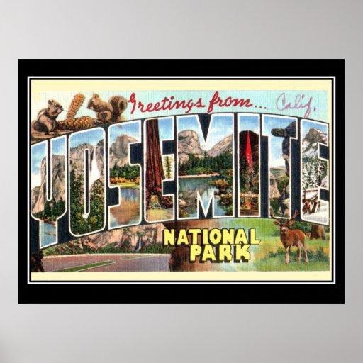 Poster del vintage del parque nacional de Yosemite