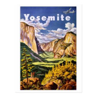 Poster del vintage del parque nacional de Yosemite Tarjeta Postal