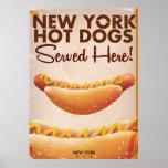 Poster del vintage del perrito caliente de Nueva