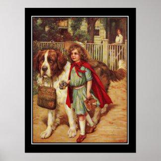 Poster del vintage del perro y del chica de Labrad