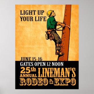 poster del vintage del reparador del electricista
