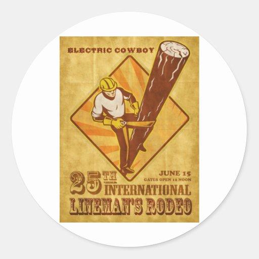 poster del vintage del reparador del electricista pegatinas redondas