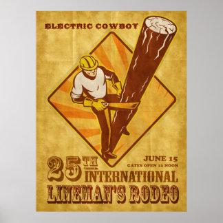 poster del vintage del reparador del electricista  póster