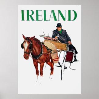 Poster del vintage del viaje de Irlanda
