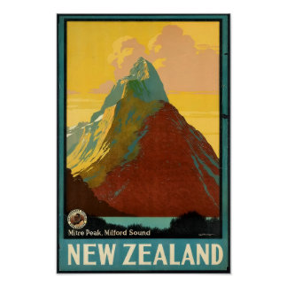Poster del vintage del viaje de Nueva Zelanda