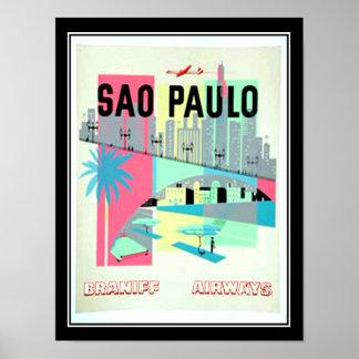 Poster del vintage del viaje de Sao Paulo el Brasi