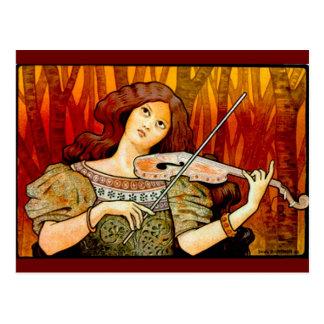 Poster del vintage del violín de la música de postal