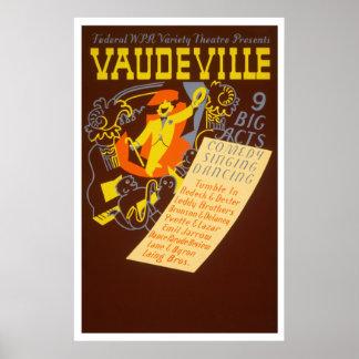 Poster del vintage del vodevil - 9 actos grandes