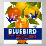 Poster del vintage del zumo de naranja del