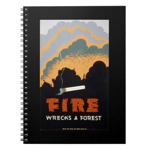 Poster del vintage - el fuego arruina un bosque cuadernos