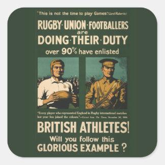 Poster del vintage: Llamada de los jugadores del Pegatina Cuadrada
