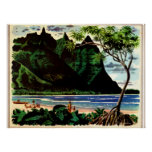 Poster del vintage, playa tropical de la isla