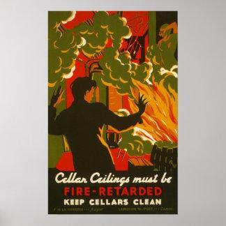 Poster del vintage - seguridad contra incendios -