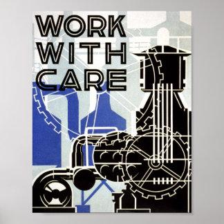 Poster del vintage - trabajo con cuidado - POSTER