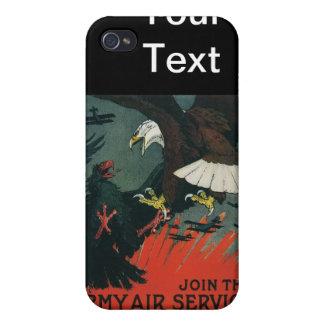 Poster del vintage WWI del servicio aéreo del ejér iPhone 4 Carcasas
