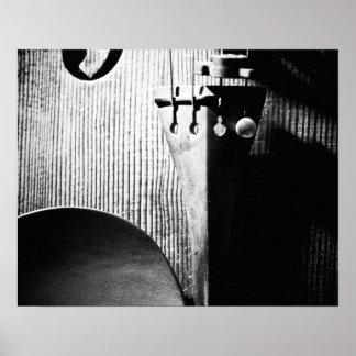poster del violín 20x16 - B/W