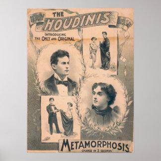 Poster del VODEVIL de Harry y de Bessie HOUDINI