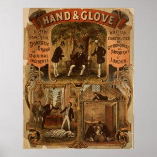 Poster del VODEVIL del acto del DRAMA de la mano y