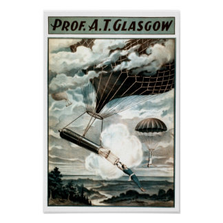 Poster del VODEVIL del paracaídas del globo de pro