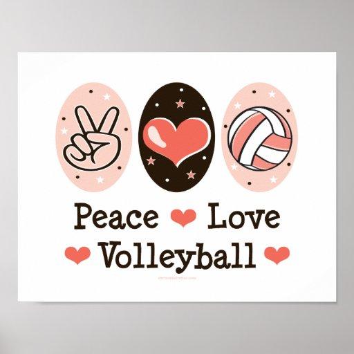 Poster del voleibol del amor de la paz