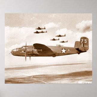 Poster del vuelo del bombardero de B-25 Mitchell