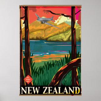 Poster del vuelo del vintage de Nueva Zelanda