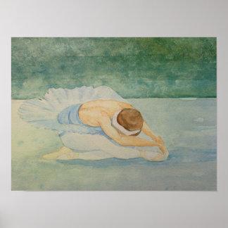 Poster del Watercolour del ballet del lago swan