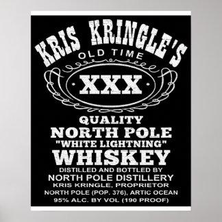 Poster del whisky del relámpago blanco del navidad