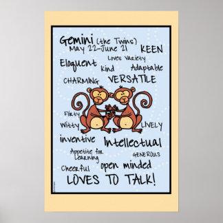 Poster del wordcloud de los géminis