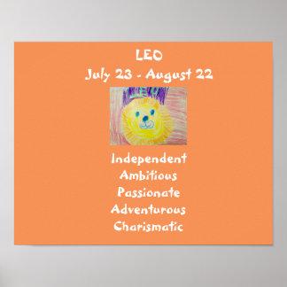 Poster del zodiaco de Leo para los niños