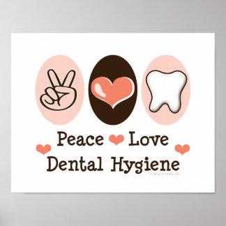 Poster dental de la higiene del amor de la paz