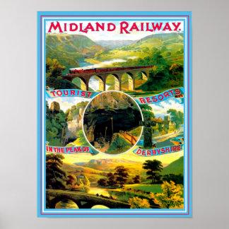 Poster Derbyshire Inglaterra del viaje del vintage