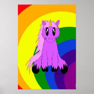 Poster desaliñado lindo del unicornio