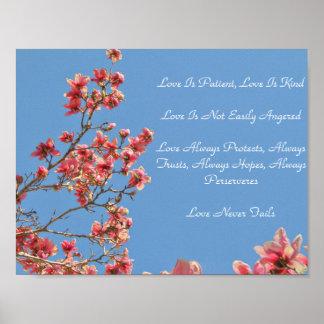 Poster Describing Love, Pink Blossoms, Blue Sky