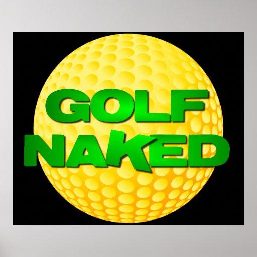Poster desnudo del golf (pelota de golf amarilla)