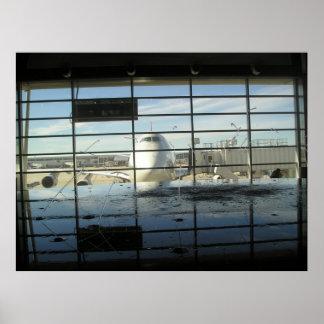 poster detroit airport plane fountain flight