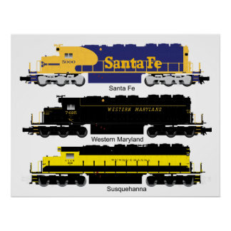 Poster diesel de la locomotora eléctrica SD40