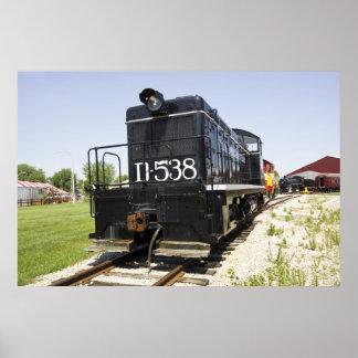 Poster diesel viejo americano del tren